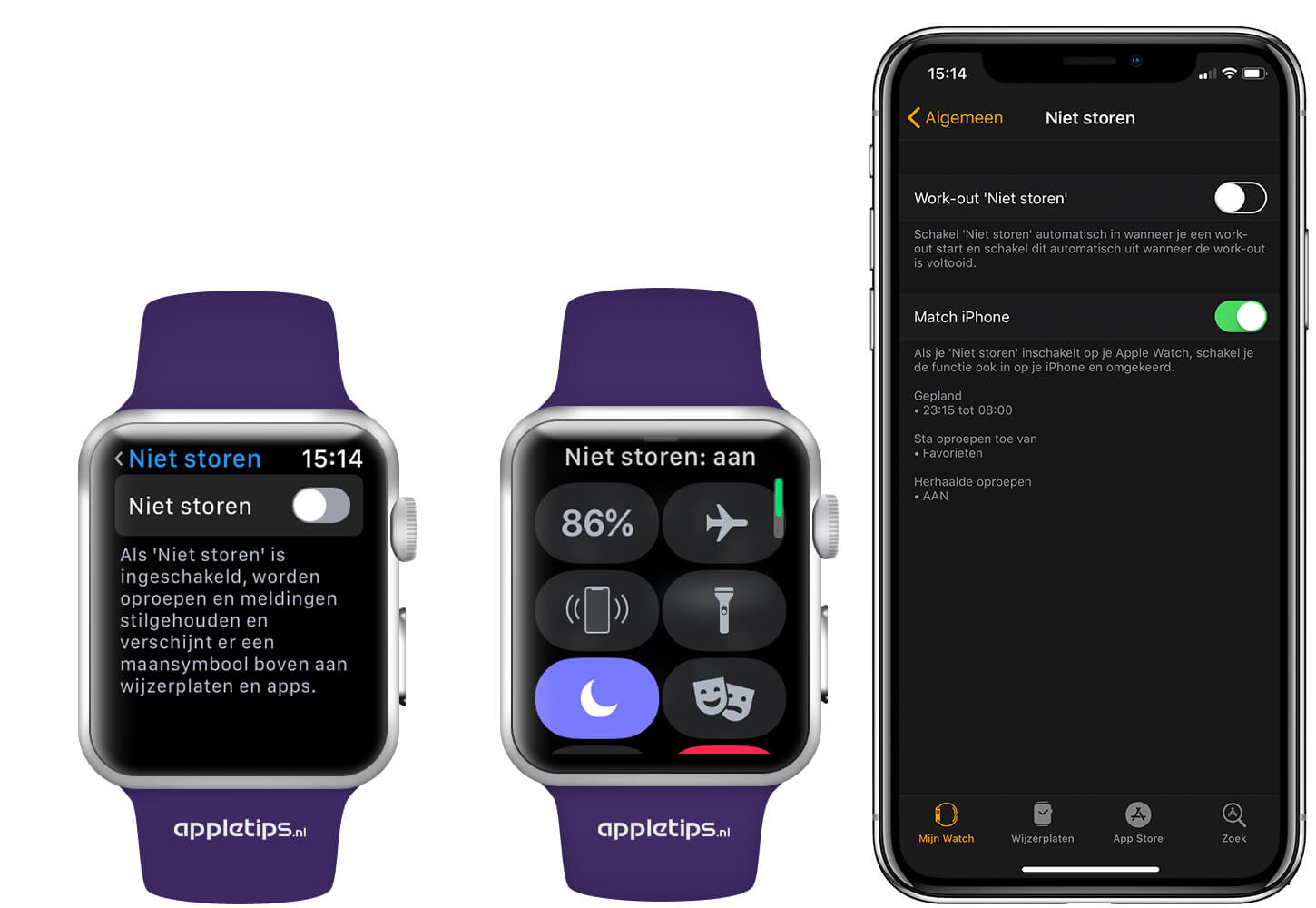 apple watch iphone niet storen instellen en activeren op de apple 6350