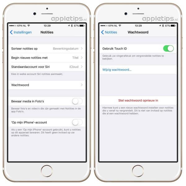 Instellingen om het wachtwoord van beveiligde notities te wijzigen