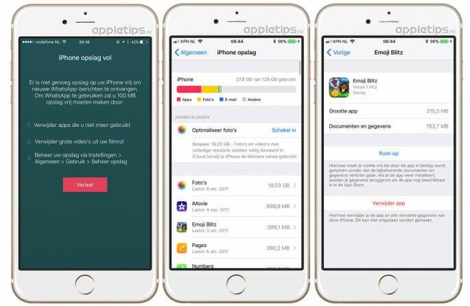 opslagruimte vrijmaken iPhone en iPAd