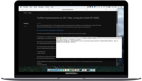 Terminal commando om Pixelmator sneller te maken