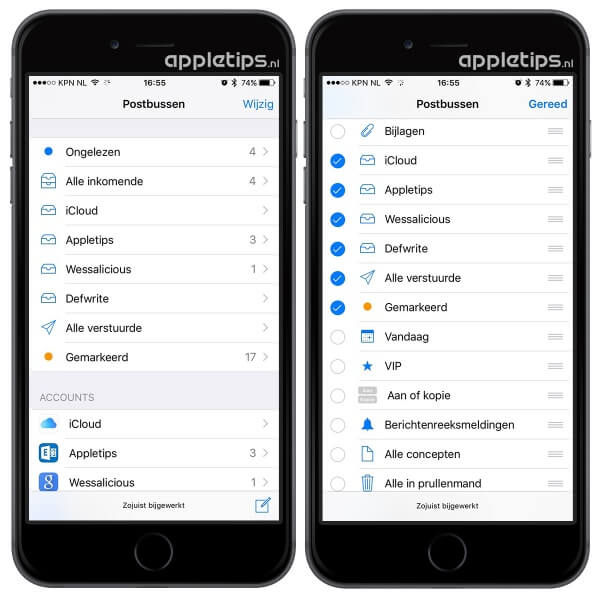 Slimme postbussen activeren in iOS Mail