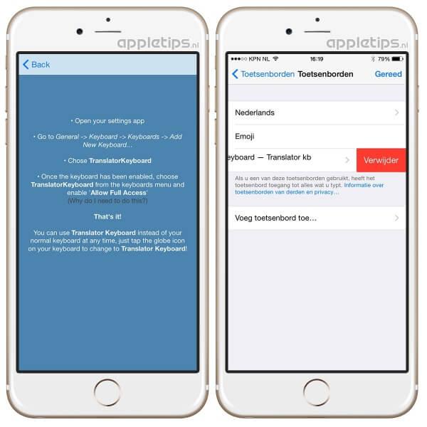alternatief toetsenbord verwijderen in iOS