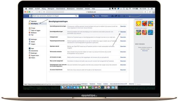 je ziet de instellingen voor Facebook op een desktop