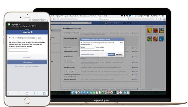 een iPhone en Macbook tonen de instellingen voor Facebook
