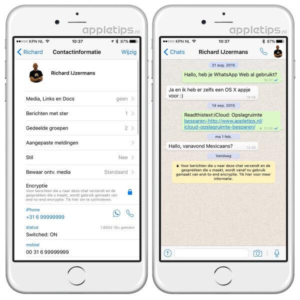 WhatsApp encryptie toont gele melding en contactinformatie