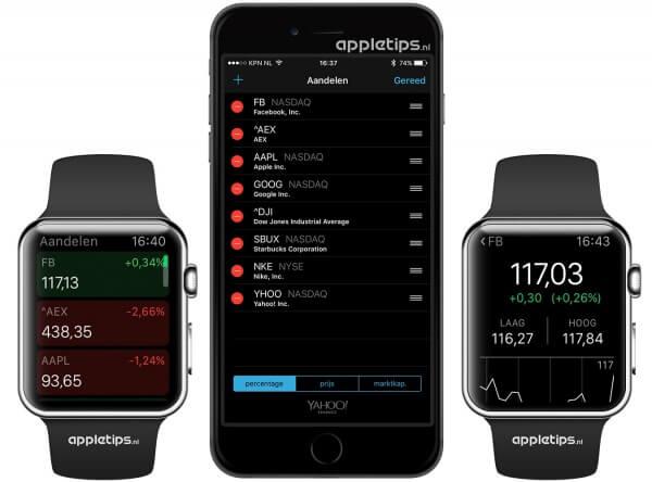 aandelen Apple Watch toevoegen