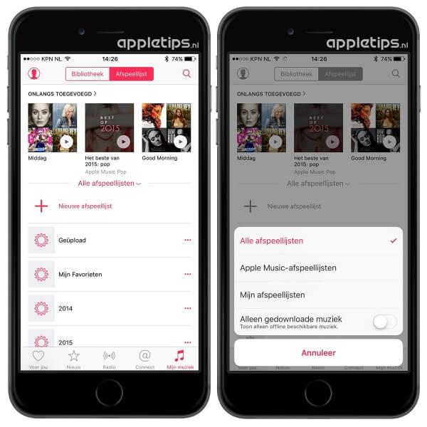 apple music afspeellijsten iOS