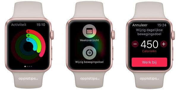 calorieën en bewegingsdoel wijzigen activiteit Apple Watch