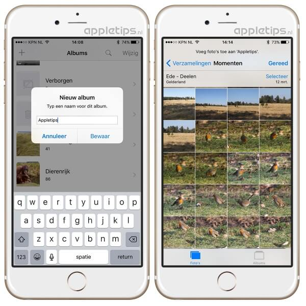 foto albums aanmaken in iOS