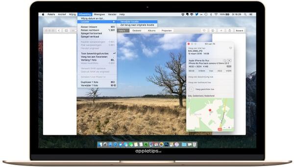 locatiegegevens verwijderen in Foto's voor OS X