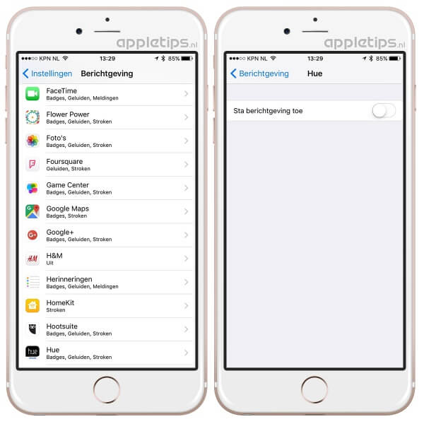 Meldingen per app uitschakelen (notificaties)