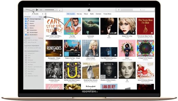 iTunes navigatiekolom aanpassen of verbergen