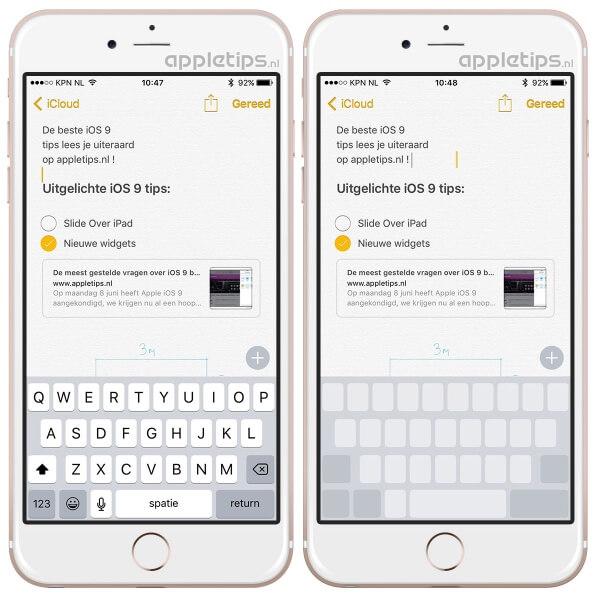 trackpad activeren met 3D touch op iPhone 6s toetsenbord