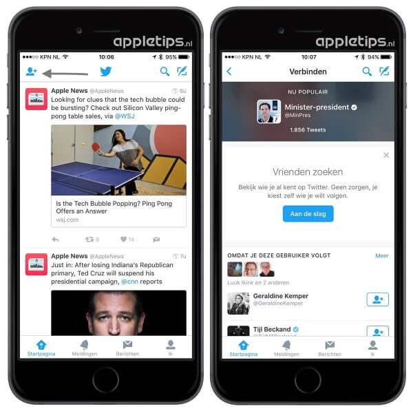 Twitter connect suggesties raadplegen