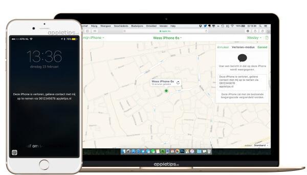 verloren of gestolen iPhone blokkeren