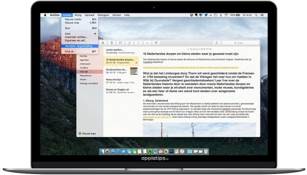 notitie wachtwoord verwijderen in OS X