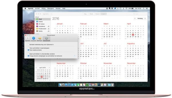 weeknummers activeren in OS X agenda