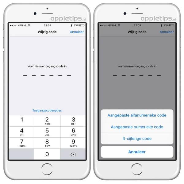 code bestaande uit vier cijfers in iOS