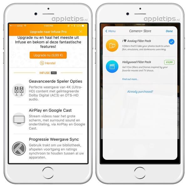 in-app aankopen herstellen