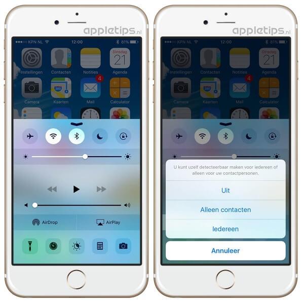 Airdrop activeren in iOS