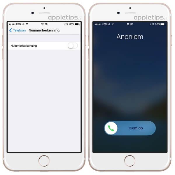 anoniem bellen in- of uitschakelen