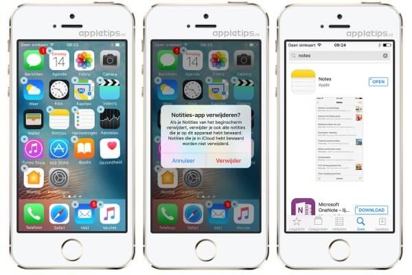 Apple standaard apps verwijderen in iOS 10