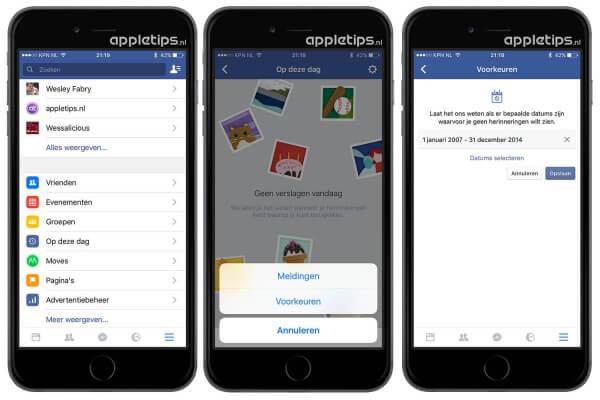 facebook herinneringen uitschakelen in app en dektsop