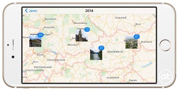 Foto's op kaart bekijken in iOS