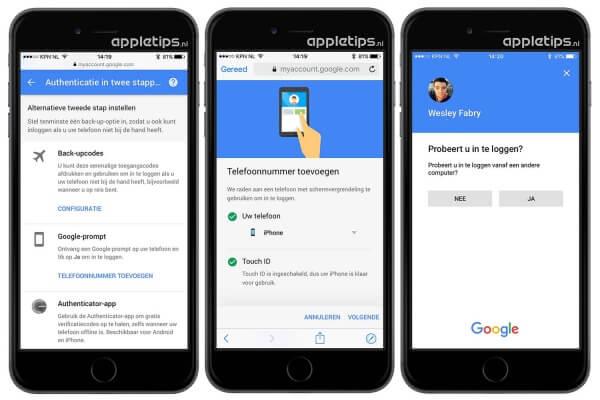 Google-prompt gebruiken op een iPhone of iPad