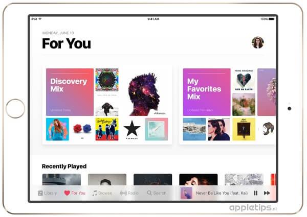 iOS 10 preview van Muziek