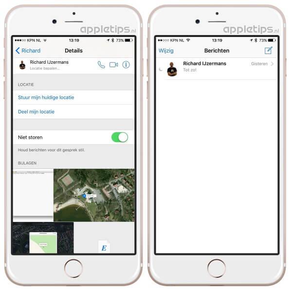 meldingen per gesprek uitschakelen in berichten app