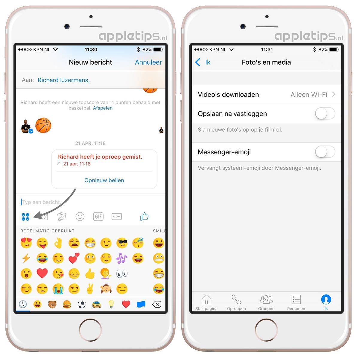 Facebook Messenger emoji's uitschakelen - appletips