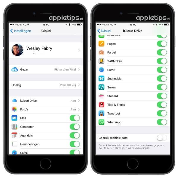 Mobiel netwerk voor iCloud Drive uitschakelen