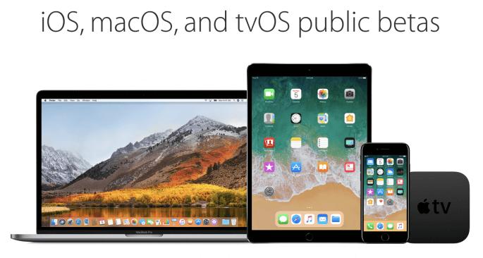 publieke beta ios, macOS en tvOS