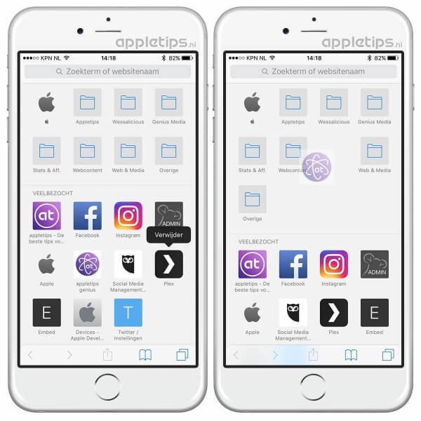 Veelbezochte pagina's verwijderen in iOS Safari
