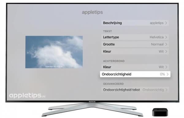 zwarte balk achter ondertiteling verwijderen Apple TV