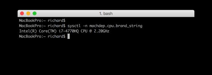 CPU info via sysctl