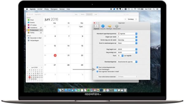 Nederlandse feestdagen uitschakelen op een Mac in OS X (macOS)