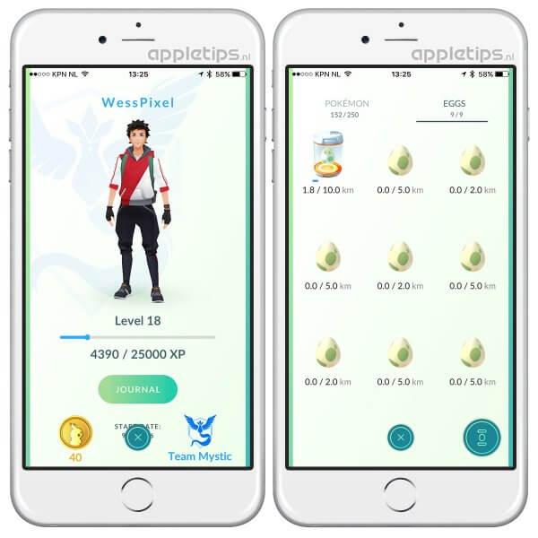 XP score Pokémon Go bekijken