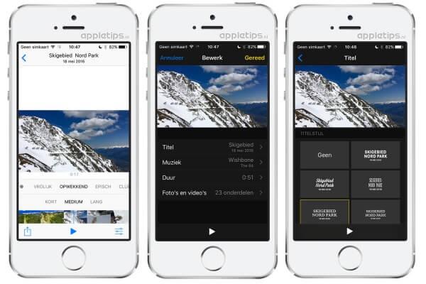 Aandenkens bewerken in iOS 10 foto's