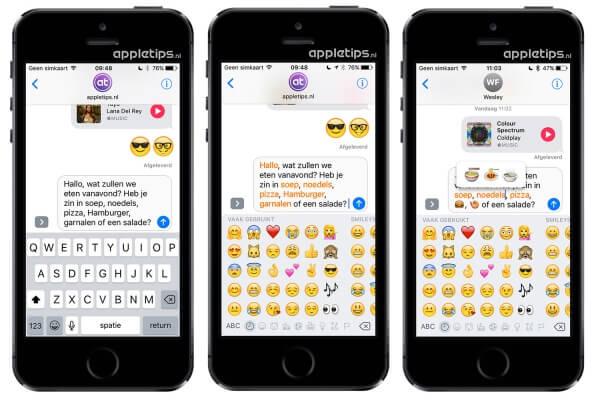 emoji-gekte in iOS 10 berichten (emoji's)