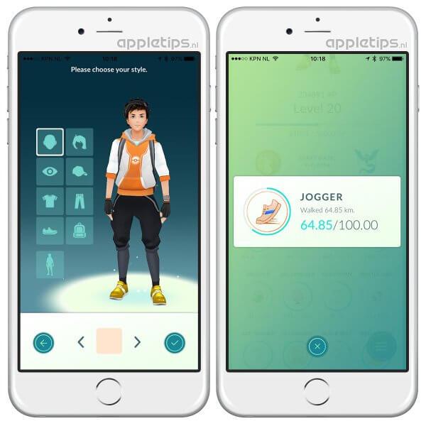 Avatar wijzigen in Pokémon go