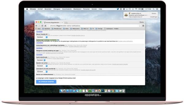 chrome notificaties native maken als systeemmeldingen mac