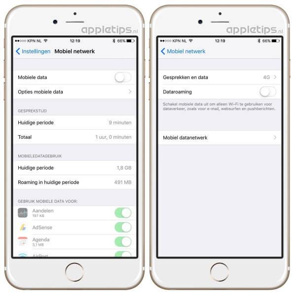 mobiele data en roaming uitschakelen