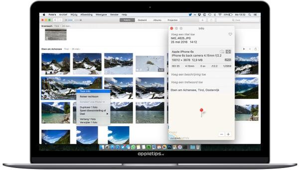 EXIF gegevens weergeven in Foto's