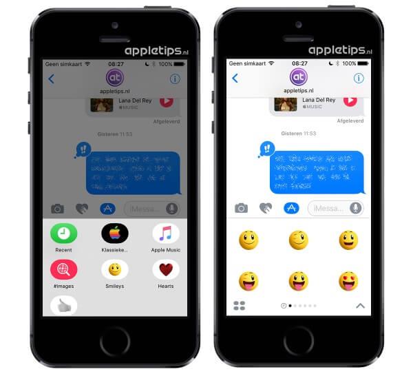 extensies in de berichten iOS 10 app