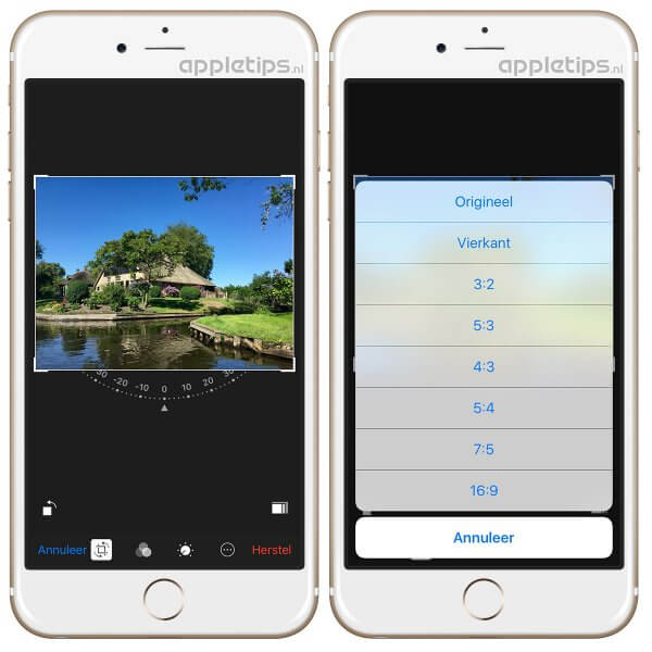 Foto bijsnijden, kantelen of rechtzetten via iOS