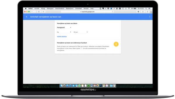 Verzamelde gegevens door google verwijderen