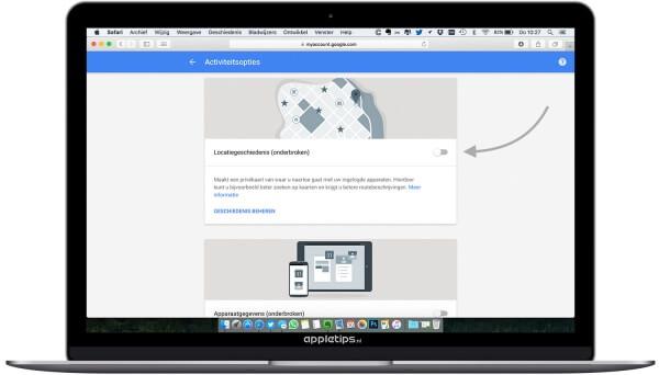 Verzamelde gegevens door google blokkeren