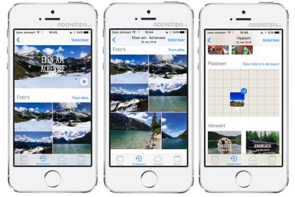 De inhoud van iOS 10 Aandenkens bekijken